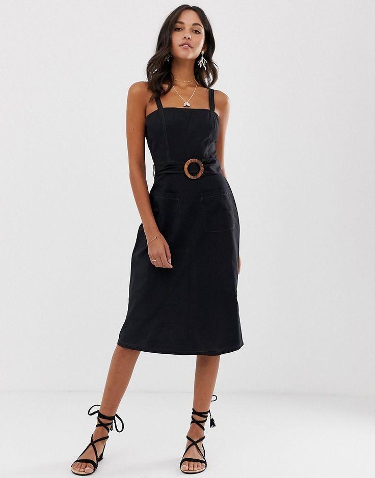 ASOS DESIGN – Midi-Sommerkleid aus Leinen mit eckigem Ausschnitt, Holzschnalle und Kontrastnähten