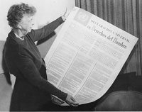 December 10, 1948 – The Universal Declaration of Human Rights (UDHR) is adopted by the United Nations General Assembly at the Palais de Chaillot in Paris.    US First Lady Eleanor Roosevelt with the Spanish version of the Universal Declaration of Human Rights.