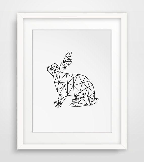 Rabbit Print Geometric Digital Art Rabbit von MelindaWoodDesigns