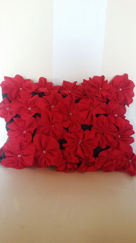 Beautiful red 3d flowered decor pillow by Elesce on Etsy
