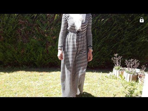 تفصيل وخياطة فستان تركي عصري وستايل للمحجبات وغير المحجبات DIY coudre une robe longue manche longue - YouTube