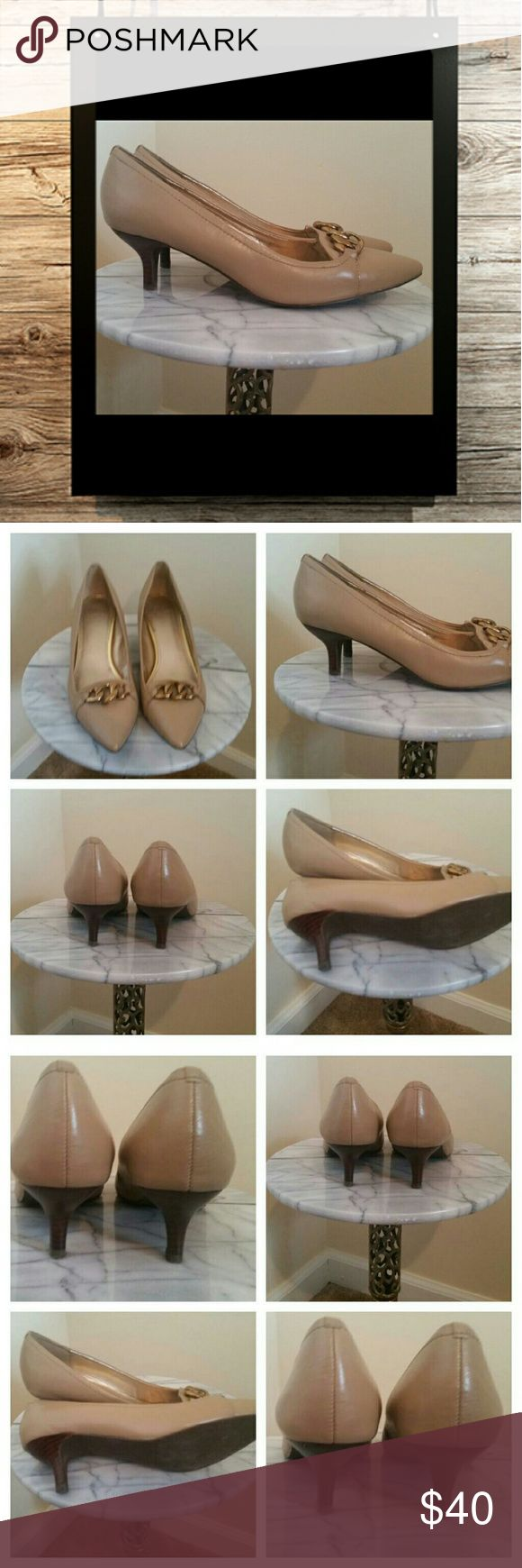 Joan & David pump size 7.5 M Tan sand colored  kitten heel pump by Joan & David size. 7.5. Vintage appeal. Slight scuffing on toes as seen in photos. Metal chain slightly discolored. All in all great leather shoe. Joan & David Shoes Heels