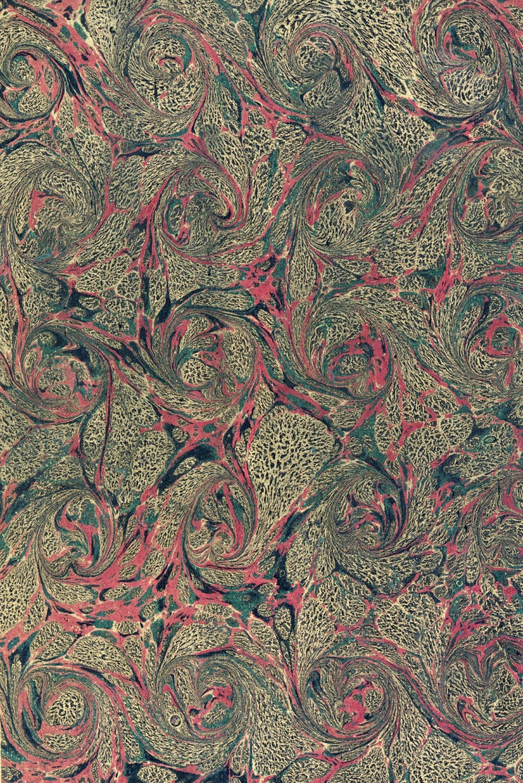 Vintage 19th C. marbled paper, French Curl on Romanitc pattern