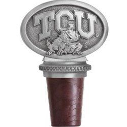 """Texas Christian University TCU """"Horned Frog"""" Pewter Bottle Stopper by Heritage Pewter. $23.99. Texas Christian University TCU """"Horned Frog"""" Bottle Stopper.Made with a synthetic cork,it has a chain with a pewter ring which slips over a bottle's neck."""