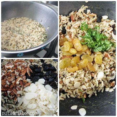 Deliciosa mezcla de arroz salvaje con nuez picada, almendras, pasas, pasas rubias y cilantro picado. Perfecto para acompañar cualquier platillo.
