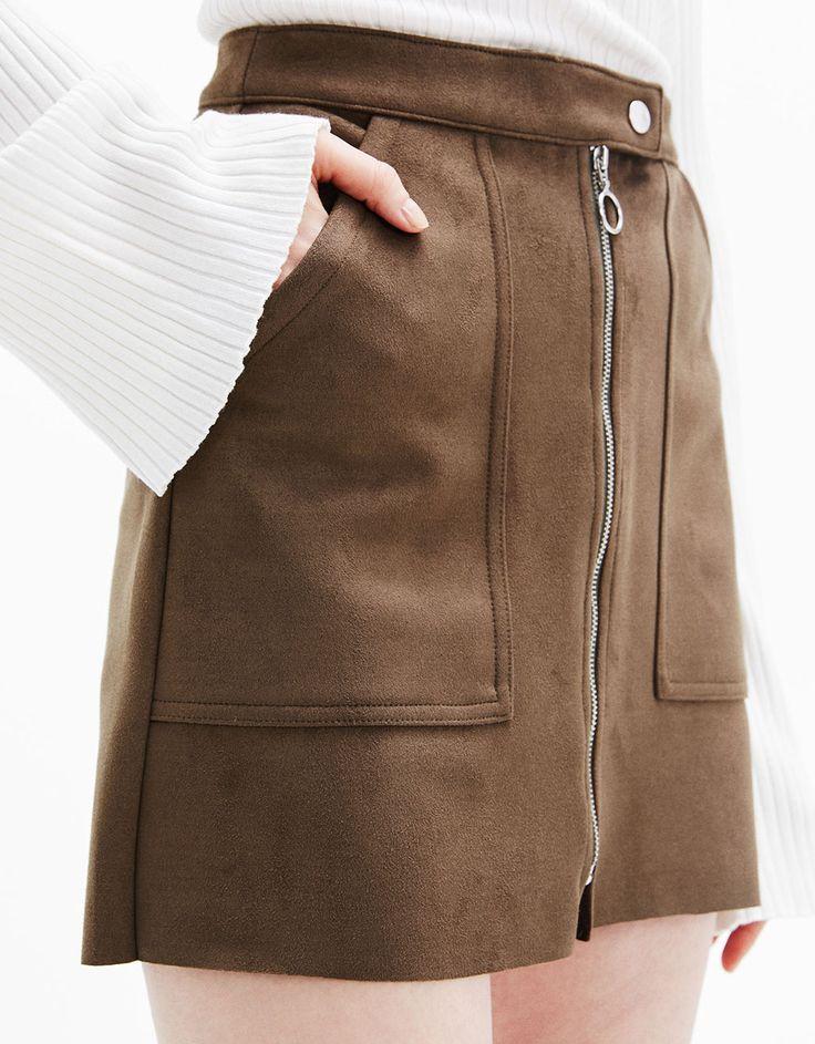 Falda mini antelina bolsillos - Faldas - Bershka España