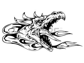 Ejderha kafası. Siyah ve beyaz vektör çizim. photo