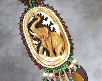 Collana, ricamo di perline, perline, elefante, osso, collana di perline