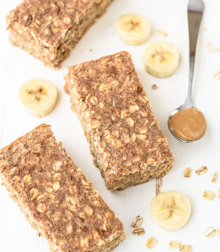 Peanut Butter Banana Oatmeal Breakfast Bars with Honey. Healthy and will keep you FULL for hours.