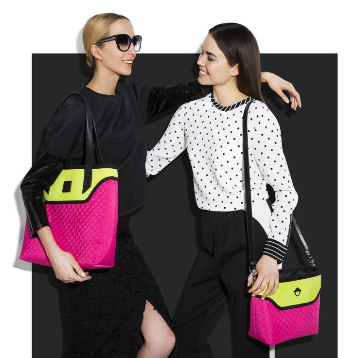 GOSHICO, photo shoot, ss2015, Flowerbag, (shoulder bag), pink + lime; Flowerbag (cross body bag), pink + lime. To download high or low resolution photos view Mondrianista.com (editorial use only).