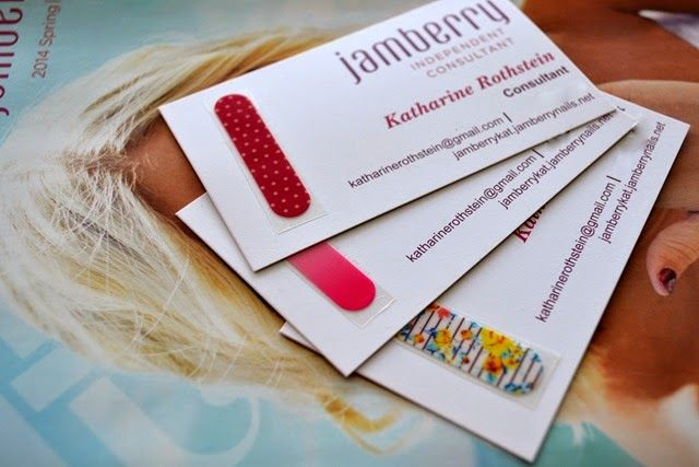 Jamberry Business Cards (put application instructions on back)