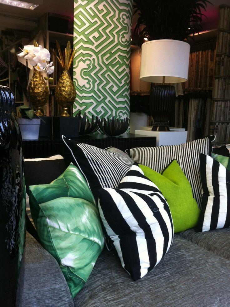 Cushions and wallpaper.