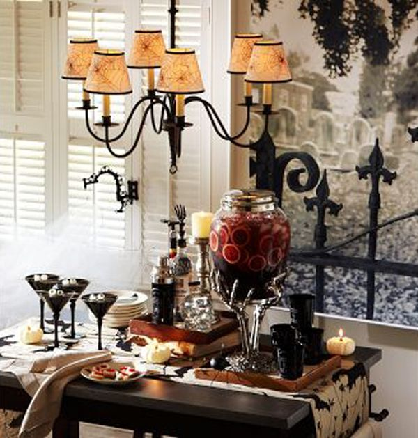decoration halloween decorations ideas black metal chandelier with black wood table black glass yellow candle black fence halloween decorat - Classy Halloween Decorations