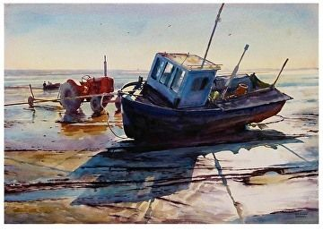 "Lytham cocklers by Graham Berry Watercolor ~ 19"" x 27"""