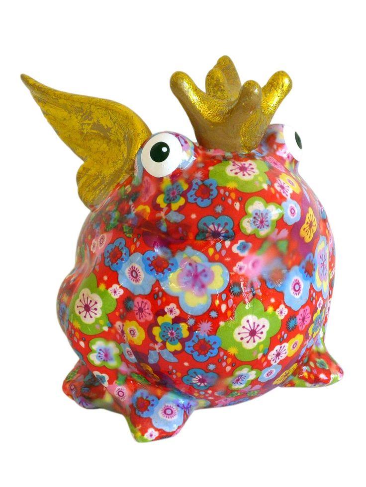 Süße Sparbüchse ~ Frosch mit Flügeln – Rot mit Blumen ~ Pomme Pidou Frog King   – mixed