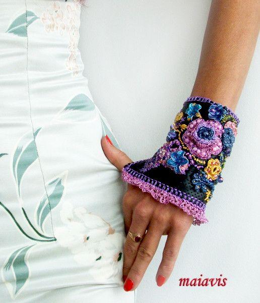 Bracelets – Statement Cuff Bracelet colourful – a unique product by maiavis on DaWanda