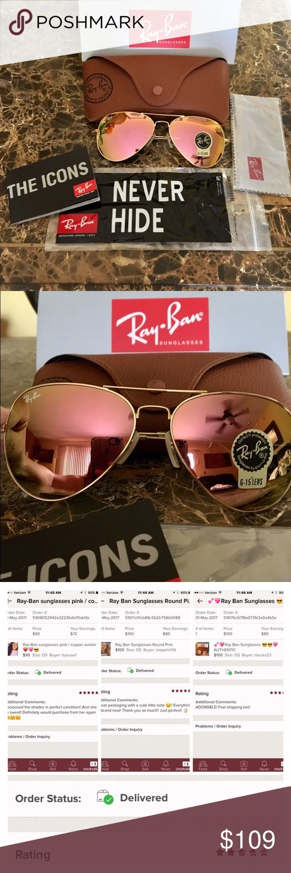 ‼️ PRICE DROP ‼️Ray Ban Sunglasses Pink Aviator PRICE IS FIRM !!         Ray Ban Sunglasses 100% Authentic. Model : RB3025 , Size 58mm , Color : Pink / Copper lens with Gold Frame. All Brand New !!   Comes with Ray Ban Sunglasses, Ray Ban Box , Ray Ban case , Ray Ban cleaning cloth ( everything you see in photos ) Made in Italy.  Buy with confidence from a trusted source right here at my closet.  Case color may vary from ( brown seen in photos ) to black. If you have a preference please…