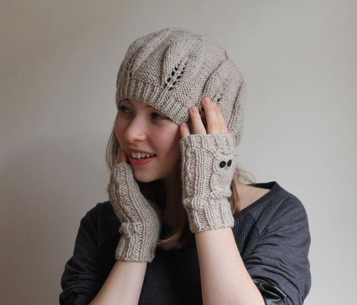 CHRISTMAS GIFT! Gift for her, Beige hat, beige mitten, hand warmer, owl gloves, owl cuff, Charcoal hat, Wool beanie, express shipping. by beyazdukkan on Etsy https://www.etsy.com/listing/173545460/christmas-gift-gift-for-her-beige-hat