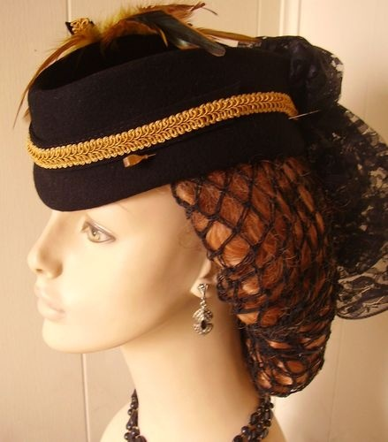 Civil War Dress Hat Blk Wool Lace Trailer w/ 1800s Victorian Brass HatPin