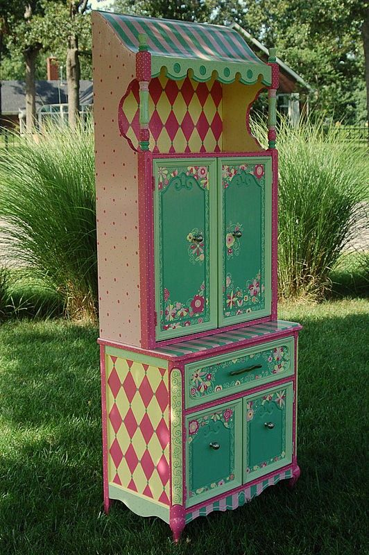 RESERVED Second Place Winner in Handmade Childrens Challenge Furniture Category Spring Blossoms Hand Painted Armoire via Etsy