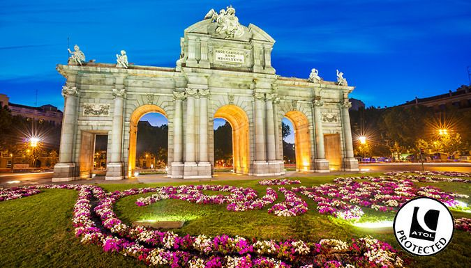 UK Holidays: Madrid, Spain: 2-4 Night Hotel Stay With Flights - Up to 31% Off for just: £89.00 Slip off to sunny Spain with a 2-4 night stay in the bustling city of Madrid      Stay in an en suite room at the San Marcos Hostel or theAlcala Plaza Hotel      Hotels offer free Wi-Fi throughout and great city locations      Kick back in Plaza Mayor and browse the collection at the Museo...