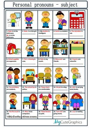 A simple worksheet to practise personal pronouns, subject ...