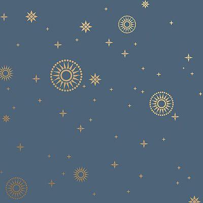 Stardust Art Deco Design Wallpaper in Midnight | Bradbury & Bradbury