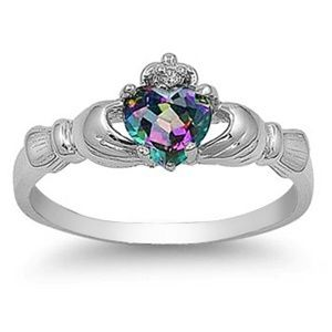 size 5 Sterling Silver Irish Claddagh Friendship and Love rainbow /mystic Topaz/Cubic Zirconia Ring
