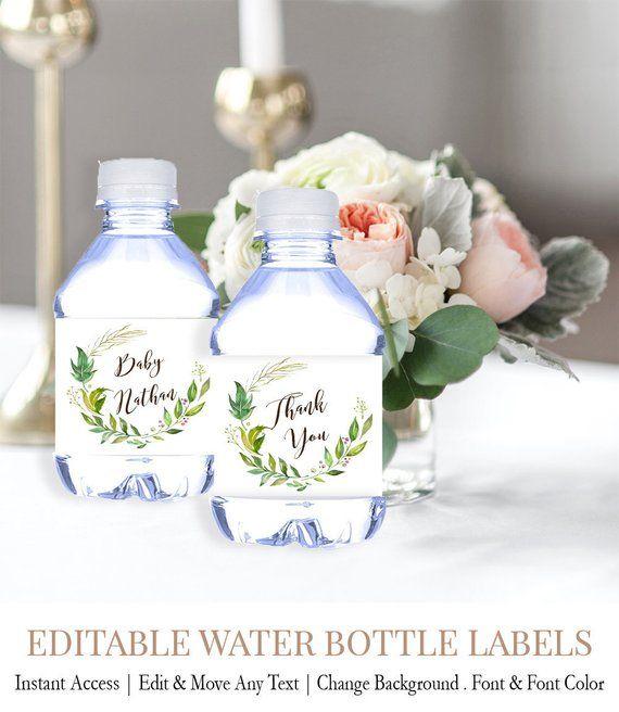 Greenery Baby Shower Water Labels Garden Baby Shower Water Etsy Water Bottle Labels Wedding Wedding Water Bottles Bottle Label Template