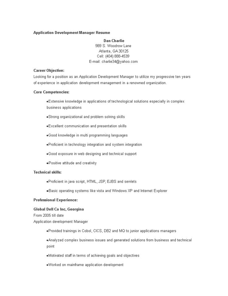 application development manager resume  how to create an