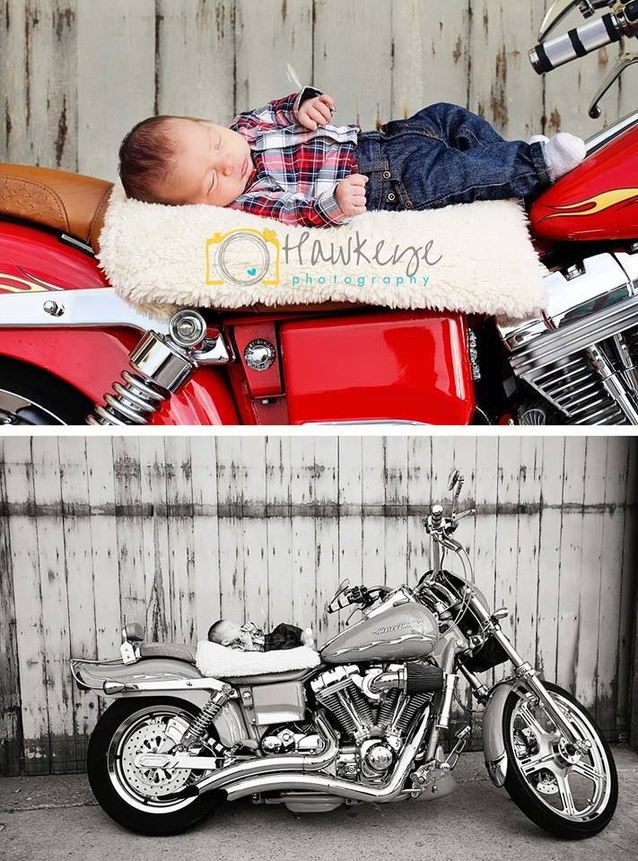 Northern Utah newborn photographer #hawkeyephotography newborn boy pictures on a red Harley Davidson Motorcycle http://www.facebook.com/hawkeyephotography
