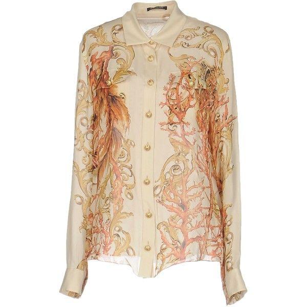 Balmain Shirt (3.720 BRL) ❤ liked on Polyvore featuring tops, beige, long sleeve tops, long-sleeve shirt, beige long sleeve shirt, long sleeve chiffon shirt and shirt top
