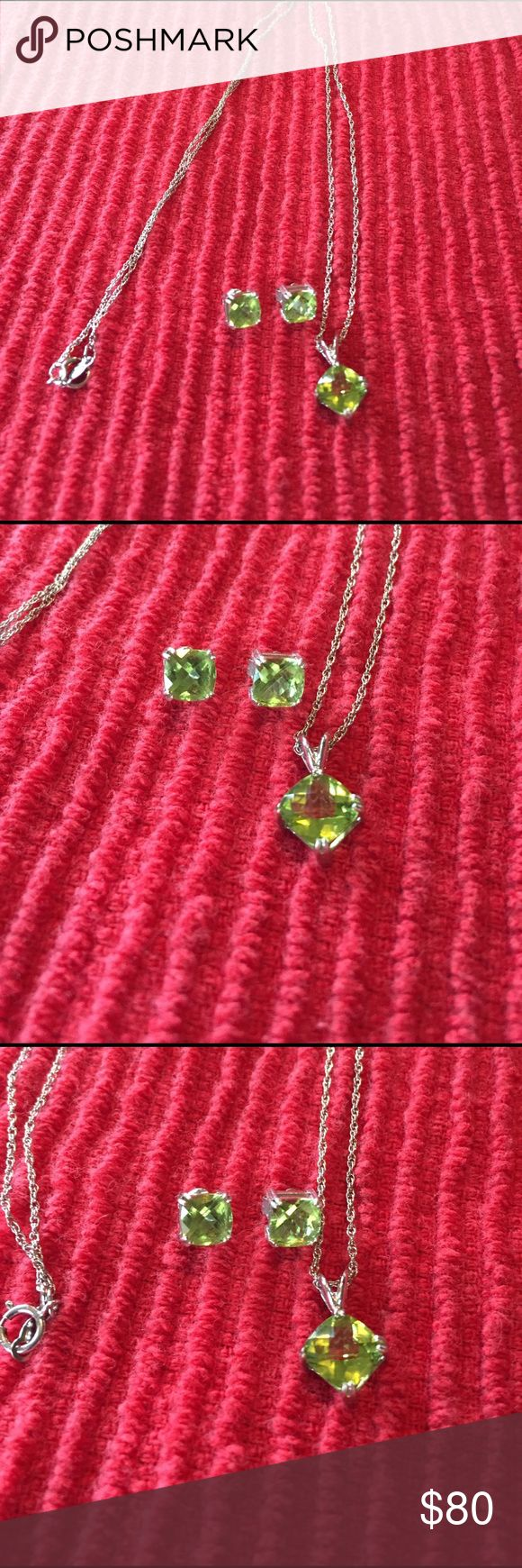 Peridot Necklace And Earrings Set Great Used Condition 925 Silver 💯  Peridot