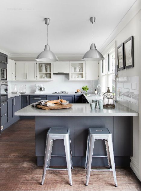 Est Magazine--transitional grey and white kitchen with steel accents