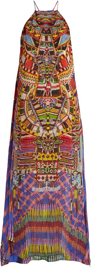 CAMILLA Rainbow Warrior print silk dress