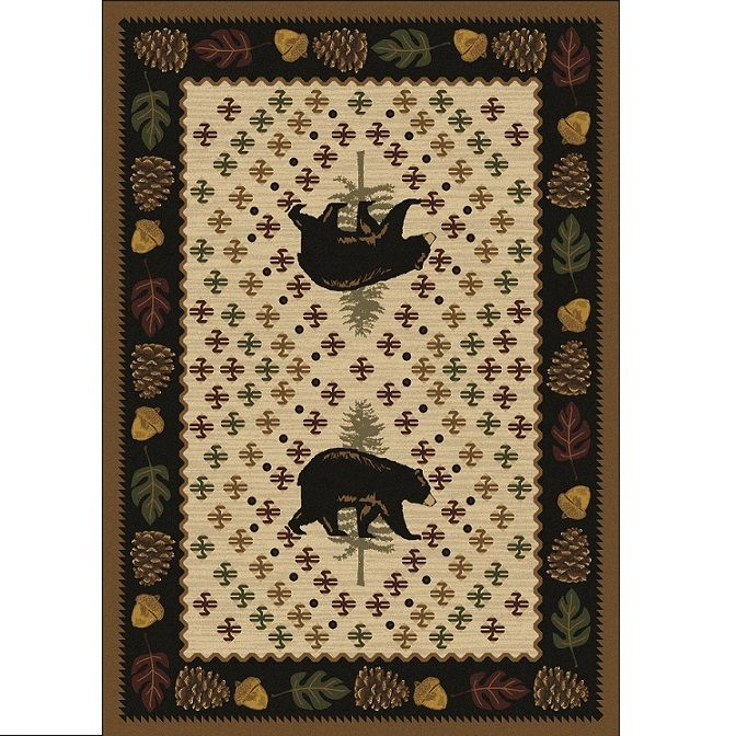Patchwork Bear Area Rug Natural American Dakota