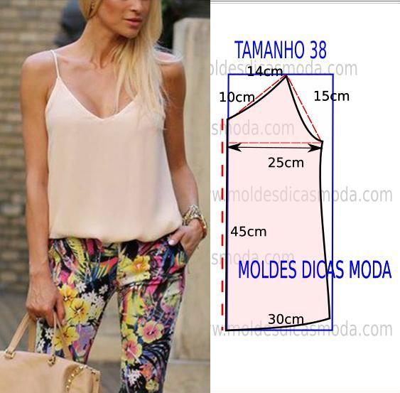 Faça a analise de forma detalhada do desenho do molde de blusa com alças. As medidas correspondem ao tamanho 38 na tabela de medidas Portuguesa e ao...