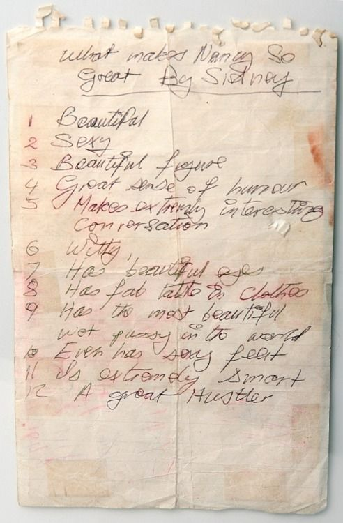 """""""What Makes Nancy So Great"""" by Sid Vicious. Written several months before Nancy was found stabbed to death."""
