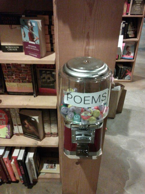 Brilliant! Anyone know which bookstore this is? We need to go there immediately. // Poems for $.50 in a small bookstore in San Francisco