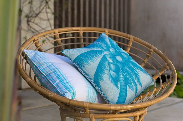 Coca Mojo Coconut palms in cool vibrate teal blue in store now at the General Store Furniture Co