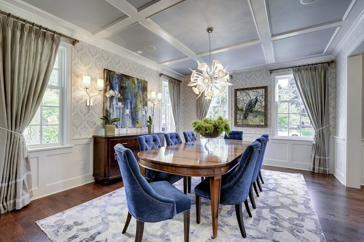 Dining room coffered ceiling dining room transitional with purple dining chairs curtain rod table legs