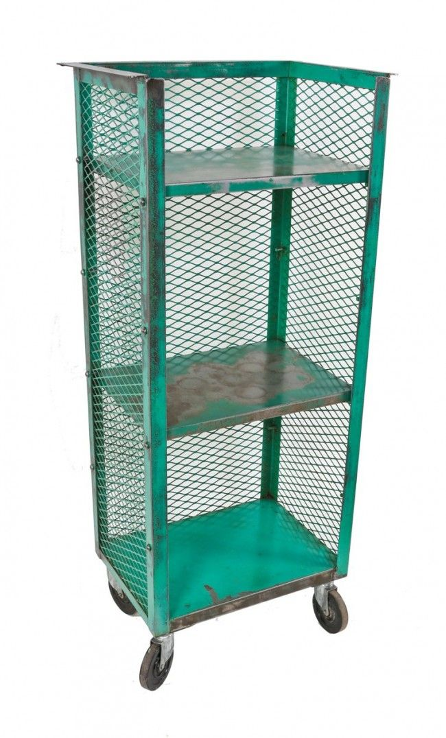 Nice-sized portable American industrial weathered and worn two adjustable tier diamond steel mesh rolling rack - would be perfect for the bathroom