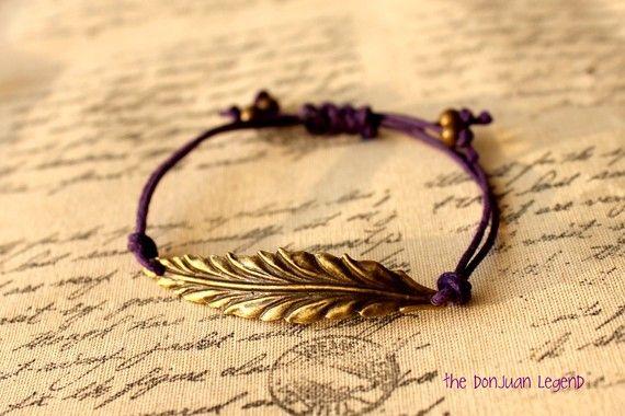 Feather adjustable bracelet in dark purple waxed cotton cord. Etsy shop the donjuanlegend