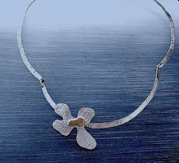 Sterling Silver Necklace Gold Choker Necklace Floral by LaSe