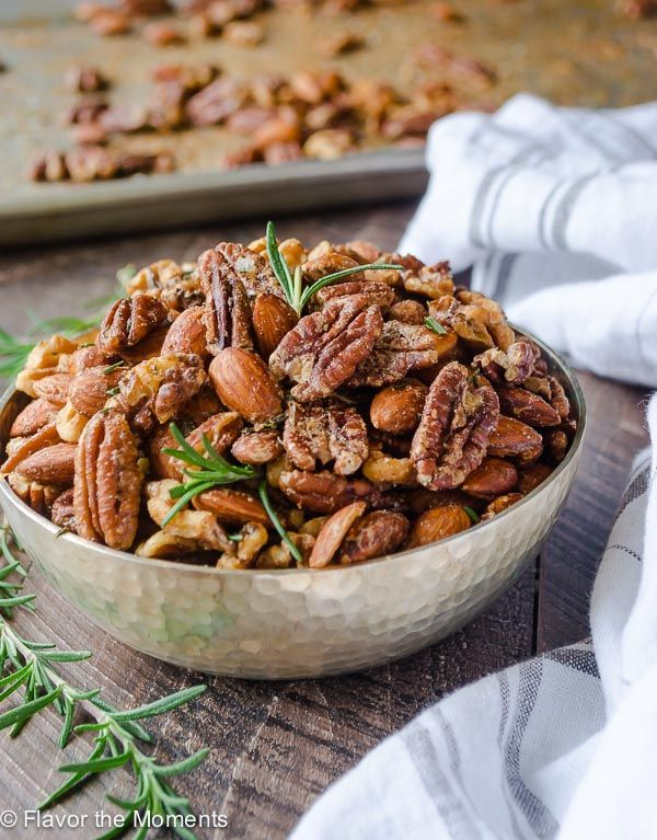 Spicy Maple Rosemary Roasted Nuts are a delicious, easy appetizer for entertaining and are perfect for homemade gifts. They're absolutely addicting!