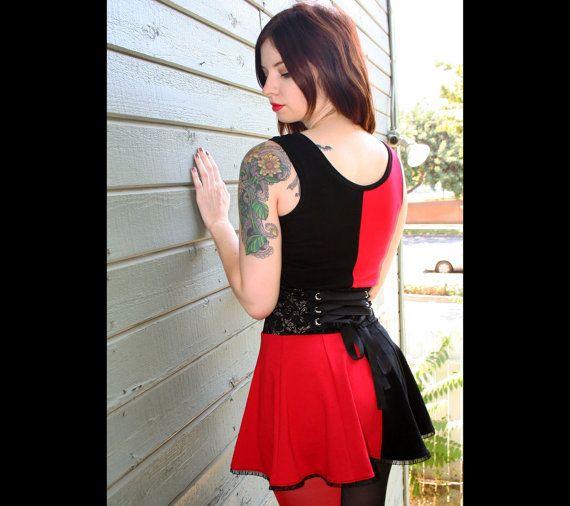 Harley Quinn Cotton Lace-Waist Mini Dress cosplay Red Black plus size tank top stretch skirt XS S M L XL 2XL metal grommet corset lacing