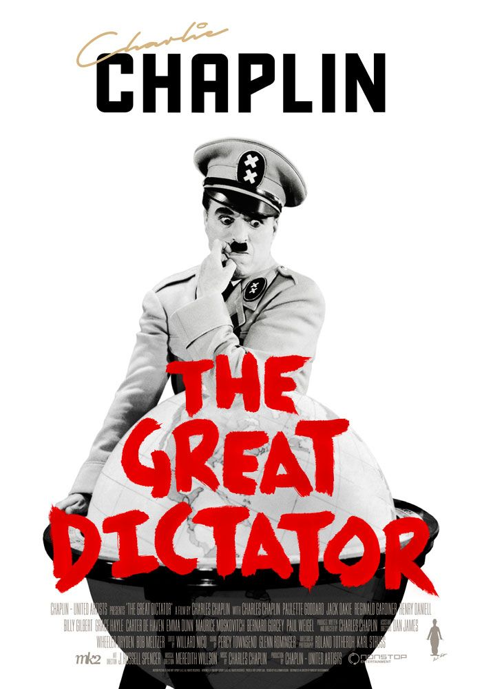 The Great Dictator (1940) Charlie Chaplin Theatrical Onesheet / Movie Poster for Nonstop Entertainment design by Kellerman Design