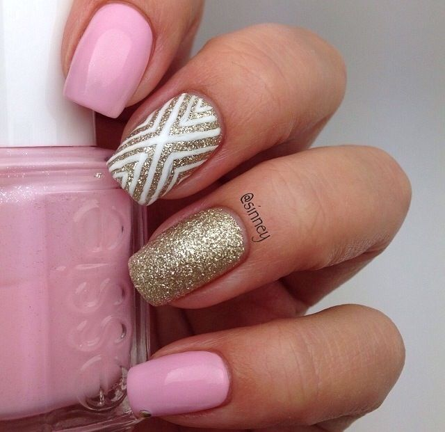 Pink, Gold And White Nail Design