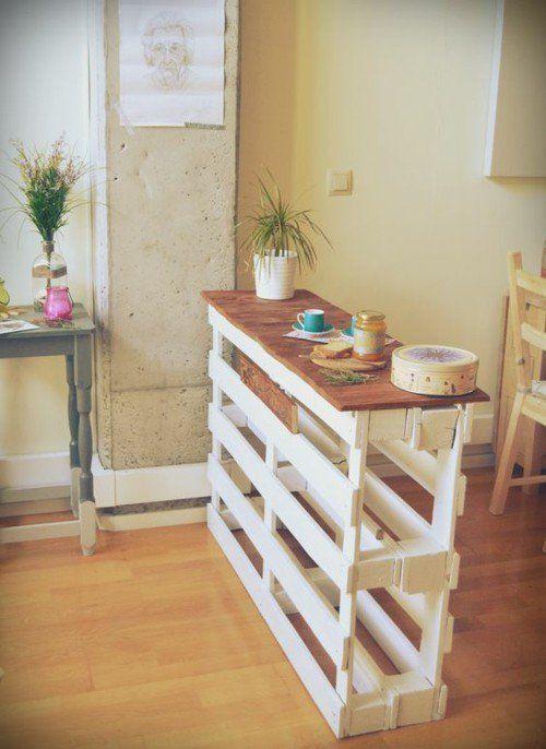 Kücheninsel  aus Paletten  basteln  super Idee