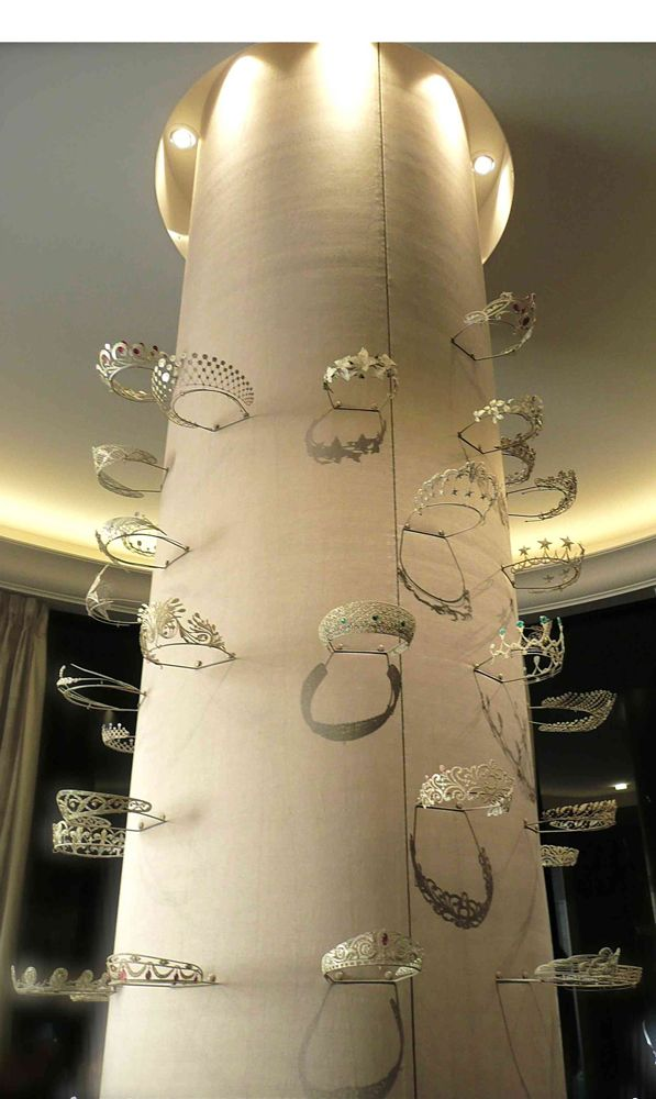 Tiaras on display, made by Chaumet. More than 2,000 tiaras have been made by Chaumet since 1780. Chaumet tiaras.